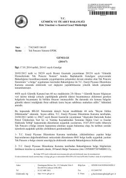 2014/7 - Gümrük ve Ticaret Bakanlığı Risk Yönetimi ve Kontrol Genel