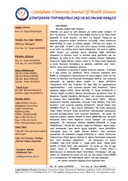 Sunuş - Sağlık Bilimleri Dergisi