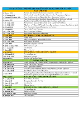 hakkâri üniversitesi 2014-2015 öğretim yılı akademik takvimi güz