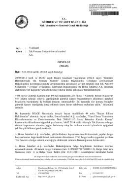 2014/8 - Gümrük ve Ticaret Bakanlığı Risk Yönetimi ve Kontrol Genel