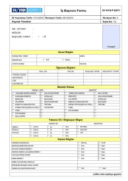 Kalite Yönetim Sistemi Formu