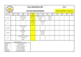 Kamu Yönetimi Bölümü Ders Programı