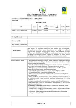 Psikiyatri Hemşireliği - Düzce Üniversitesi Sağlık Yüksekokulu