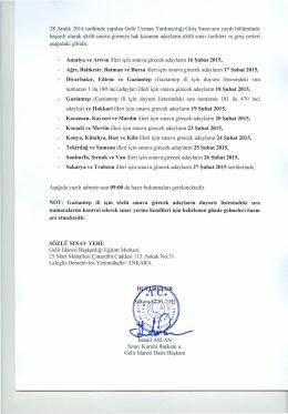 28 Aralık 2014 tarihinde yapılan Gelir Uzman Yardımcılığı Giriş