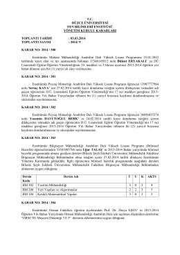 yönetim kurulu - Düzce Üniversitesi Fen Bilimleri Enstitüsü