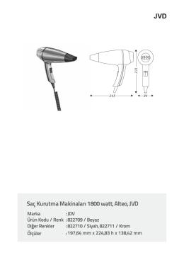 Saç Kurutma Makinaları 1800 watt, Alteo, JVD