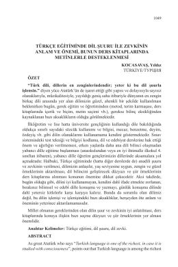 türkçe eğitiminde dil şuuru ile zevkinin anlam ve önemi