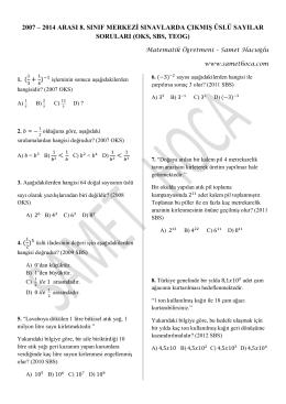 8. Sınıf Merkezi Sınavlar Üslü Sorularını PDF Olarak