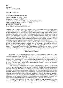 Kocaeli 2. İdare Mahkemesinin Yürütmeyi - Türk Eğitim-Sen