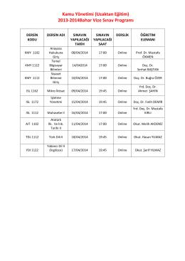 2013-2014 KAMU YÖNETİMİ Vize sinav tarihleri için tıklayınız