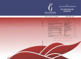 fen bilimleri dergisi - celal bayar üniversitesi fen bilimleri enstitüsü