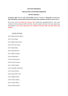 26 Haziran 2014 tarihli Kesin Kayıt Kura Duyurusu