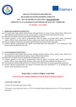 27.10.2014 - 14.11.2014 BAŞVURU ve SINAV SÜREÇ TAKVİMİ