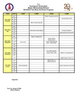 2013/2014 Yaz Okulu Ara Sınav Programı