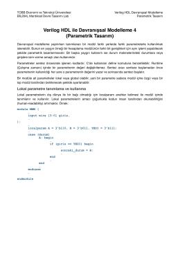 Verilog HDL ile Davranışsal Modelleme 4 (Parametrik Tasarım)