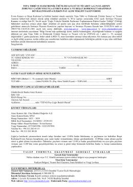 tepa pay alım teklifi müşteri talep formu