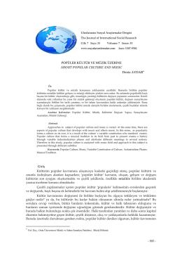 Popüler Kültür ve Müzik Üzerine - the journal of international social
