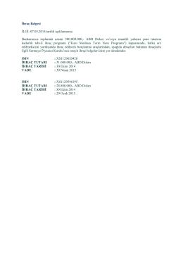 İhraç Belgesi SPK Onayı, 24 Ekim 2014