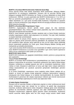 MUNTR ve EuroAsia MUN Konferanslari Hakkında