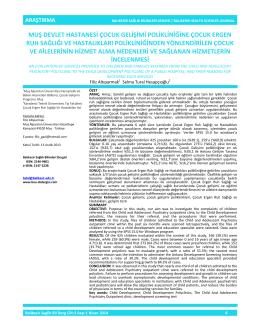 muş devlet hastanesi çocuk gelişimi polikliniğine