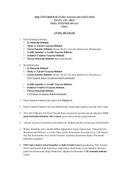 ÖZEL YETENEK SINAVI - Işık Üniversitesi