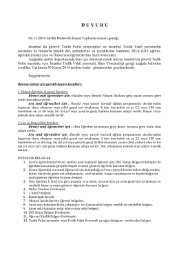 2014-2015 burs duyurusu - İstanbul Trafik Vakfı