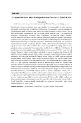 Nanopartiküllerin Akuatik Organizmalar Üzerindeki Toksik Etkisi