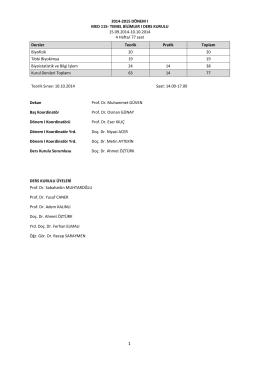 2014-2015 dönem ı - Erciyes Üniversitesi Tıp Fakültesi