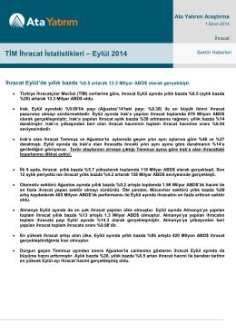 TİM İhracat İstatistikleri – Eylül 2014
