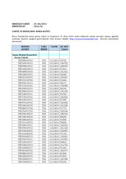 Sirküler 2014-036 - TAHVİL VE BONOLARIN BORSA RAYİCİ