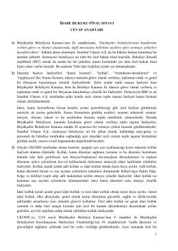 İDARE HUKUKU DERSİ FİNAL SINAVI CEVAP ANAHTARI