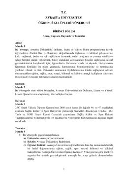 T.C. AVRASYA ÜNİVERSİTESİ ÖĞRENCİ KULÜPLERİ YÖNERGESİ