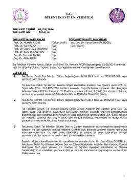 02/05/2014 Tıp Fakültesi Yönetim Kurulu Kararı