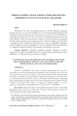 MÖHUK Madde 31 Bağlamında Türk Hukukunda