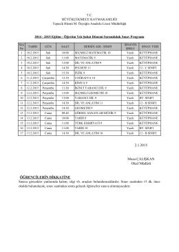 ÖĞRENCİLERİN DİKKATİNE Musa ÇALIŞKAN Okul Müdürü 2.1.2015
