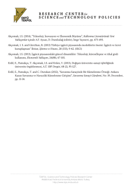 "Akçomak, I.S. (2014), ""Teknoloji, İnovasyon ve Ekonomik Büyüme"