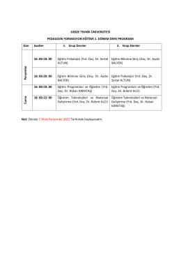 GTU Pedagojik Formasyon Eğitimi 1. Dönem Ders Programı