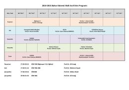 2014-2015 Bahar Dönemi Akıllı Sınıf Ders Programı