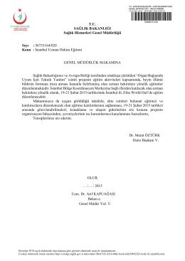 56733164/020 Konu : İstanbul Uzman Hekim Eğitimi GENE