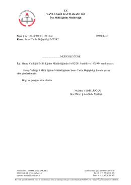 Sınav Tarihi DeğişikliğiMTSK-2 - yayladağı ilçe millî eğitim müdürlüğü