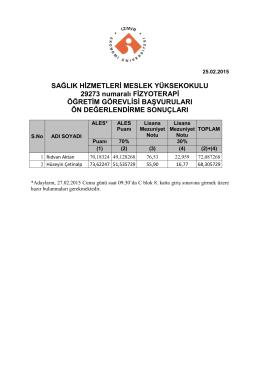 SAĞLIK HİZMETLERİ MESLEK YÜKSEKOKULU 29273