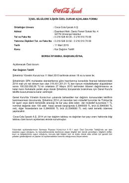 11 Mart 2015 Kar Dağıtım Teklifi
