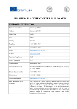 ERASMUS+ PLACEMENT OFFER IN SLOVAKIA