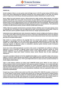 Günlük Bülten - Turkborsa.net