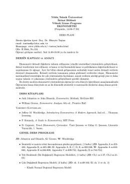 Yildiz Teknik ¨Universitesi ˙Iktisat Bölümü Yüksek Lisans Programı