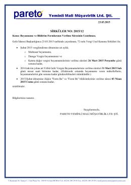 sırk-15-12 beyanname ve bildirim formlarının verilme