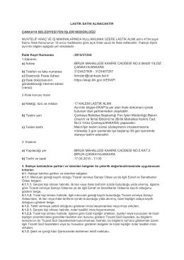 Çankaya Belediye Başkanlığı Fen İşleri Müdürlüğü Lastik Alım