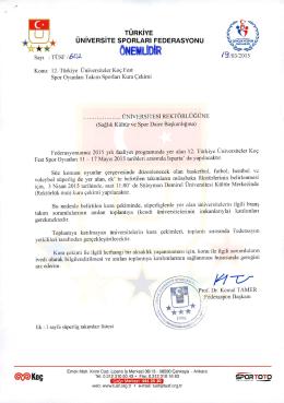 Resmi Yazı İçin Tıklayınız - Türkiye Üniversite Sporları Federasyonu