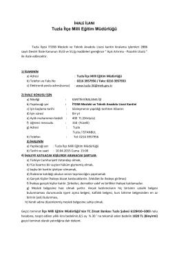 Tuzla İTOSB Mesleki ve Tenknik Anadolu Lisesi Kantin İhale İlanı