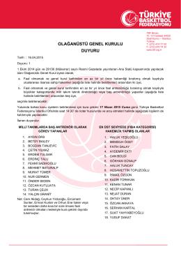 olağanüstü genel kurulu duyuru - Türkiye Basketbol Federasyonu